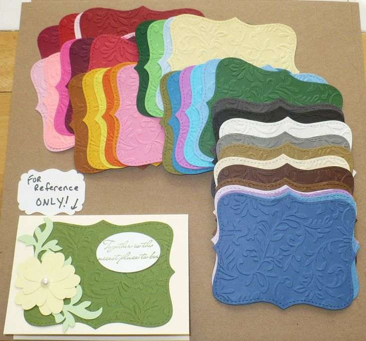 Embossed Top Note Shapes from Stampin Up Die-- She's got some really cute cut-outs. Wishlist!