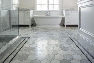 "Tarkus tile floor tile  6"" hexagon Carrara Arabescato grout is Mapei Ultracolor Plus, color Silver."
