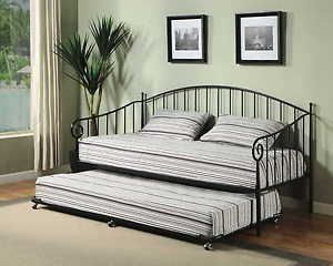 Best Matt Black Metal Twin Size Day Bed Daybed Frame With Pop 640 x 480
