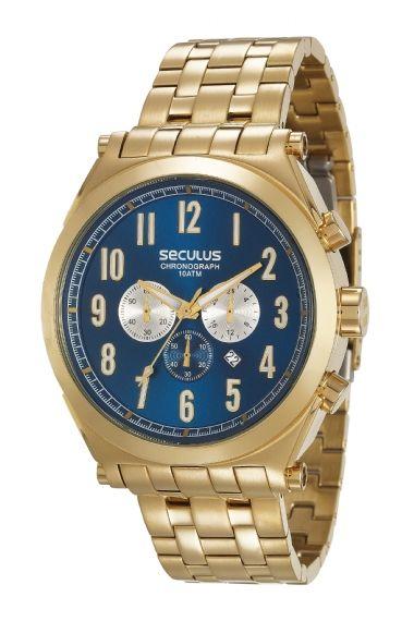 81f46fa84d1 20554GPSVDA1 Relógio Masculino Seculus Dourado Cronógrafo