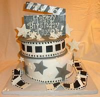 movie themed birthday party | Movie Memorabilia Theme with One Movie Reel Fondant Cake