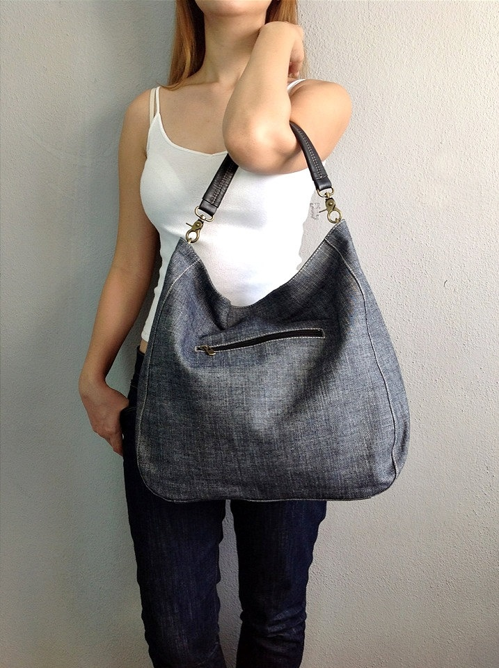 BagStory JESS CLASSIC / Womens Tote Bags / Shoulder Handbags in Denim and Black / Denim Bags. $42.00, via Etsy.