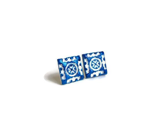 Portugal small ceramic clay tiles replica design blue by XTory
