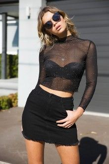 TWO WAY STREET MESH TOP - BLACK/SILVER