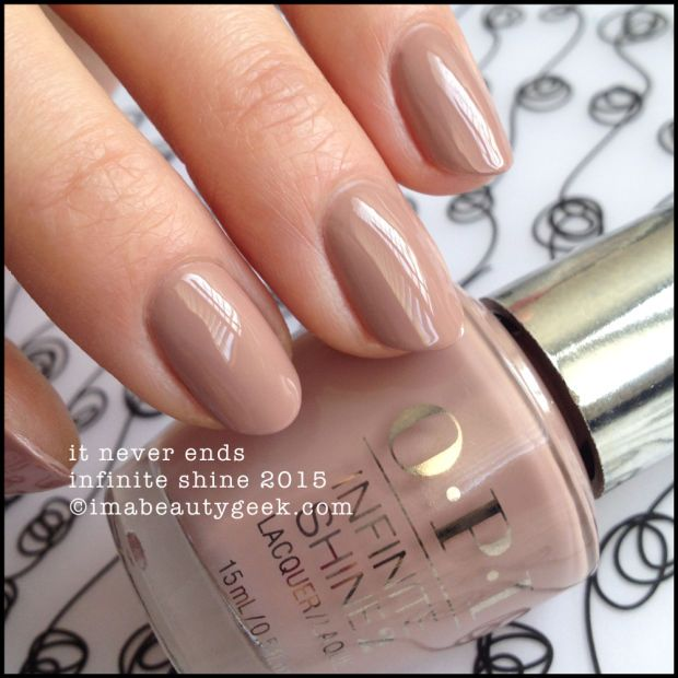 OPI Infinite Shine It Never Ends. Lots of OPI Infinite Shine swatches on click-thru to www.imabeautygeek.com