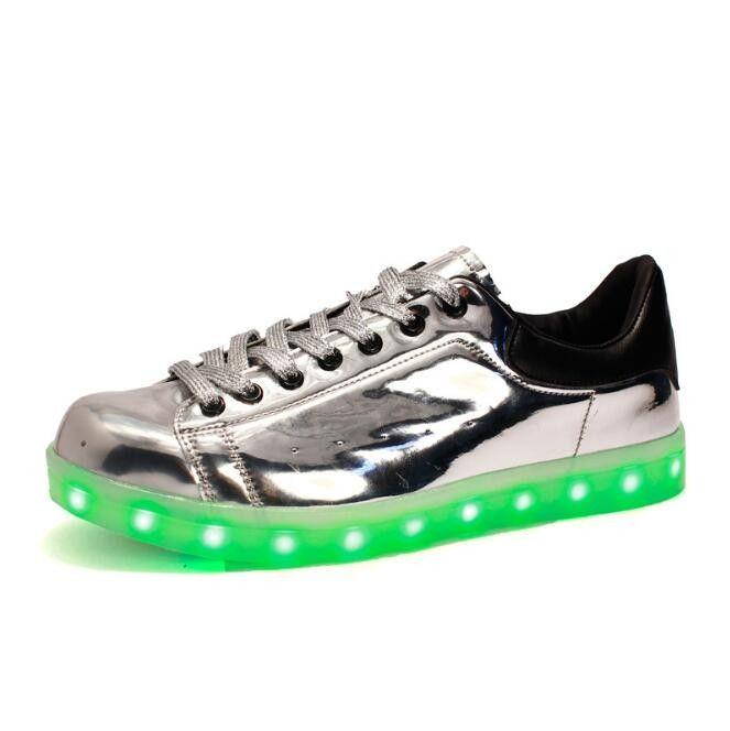 (Present:kleines Handtuch)Gold EU 38, 7 Turnschuhe Sportschuhe LED Farbe Herren Damen Sport mode Schuhe Sneaker Unisex-Erwachsene für USB (T