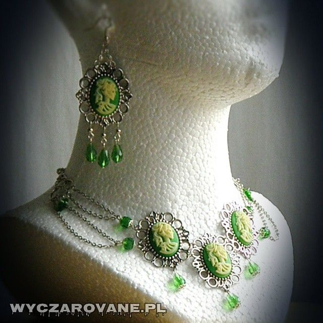 #new #absinthe #jewellery #set #gothic_necklace with #lady_skull_cameo #chains and #green #crystals #gothic_earrings #skull #lady #victorian #spring