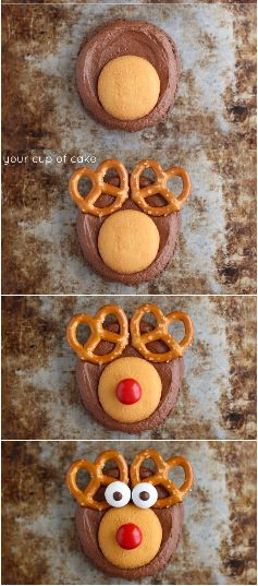 How to Make Rudolph Cookies, OH MY! Almost too cute to eat!  Making these for Christmas this year!