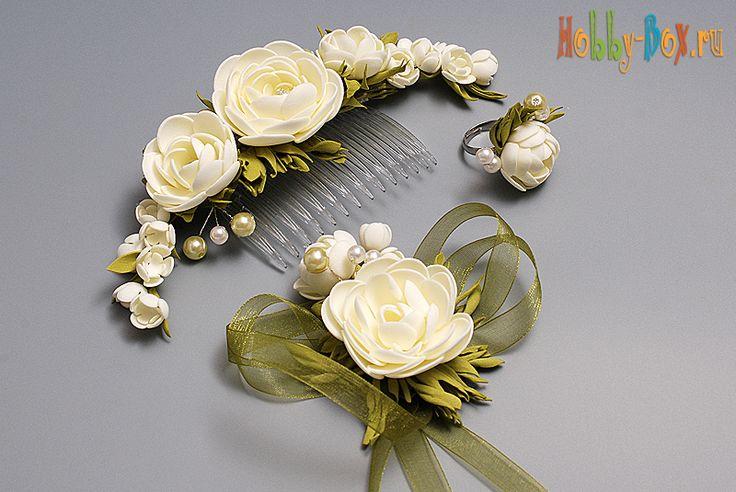 Цветы из фоамирана. Заколка из Фоамирана