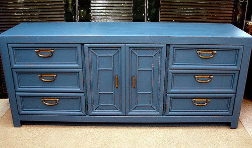 Royal Blue Painted Long Dresser Credenza Console — Fixed price $445 http://krrb.com/posts/36921-royal-blue-painted-long-dresser-credenza-console?rf=corner-Curiositync