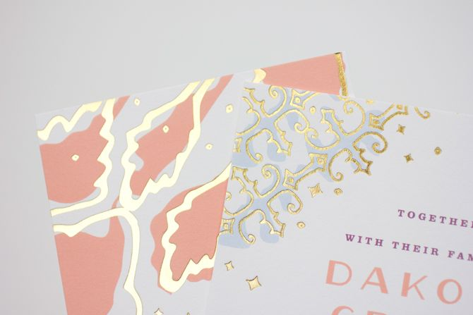 Glitter Inspiration: Mae Mae Paperie Invitations with Gold Details on Troolie