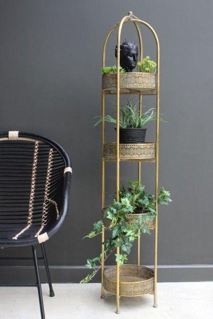 Ornate Gold Tall Tray Shelves