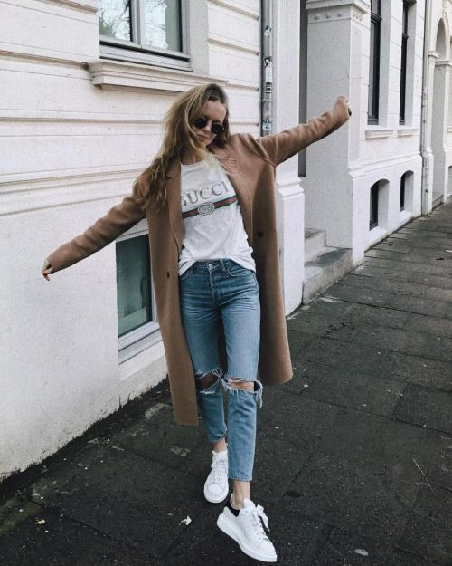 Tan duster coat, Gucci white tee, light jeans, white sneaker • •   Pinterest: @AWIPmegan