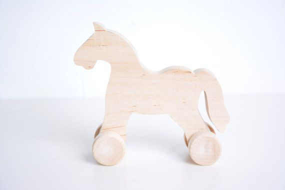 wooden horse toy, unfinished DIY toy, waldorf toy, pony on the wheels, eco toy for girl or boy, birthday gift, toys,