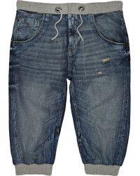 River Island | Blue Mid Wash Denim Jogger Shorts |  Lyst