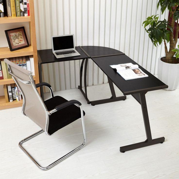 Black L Shaped Office Corner Wooden Modern Desk Computer Workstation PC Table #Unbranded #Modern