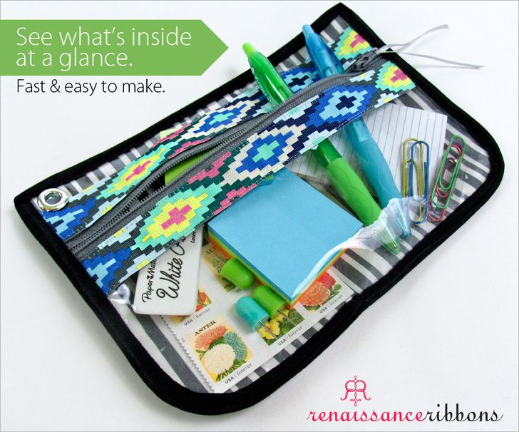 Zippered, See-Through Pouch Sewing Tutorial - Renaissance Ribbons   Sew4Home