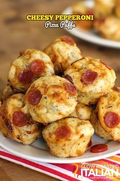 Bite Size Cheesy Pepperoni Pizza Puffs in 30 Minutes ~ These freeze and reheat fantastically.