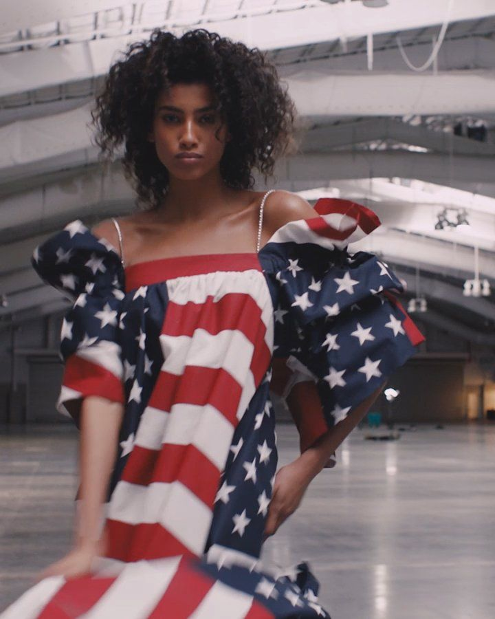 Imaan Hammam - New York–based Vaquera collective members, David Moses, Bryn Taubensee, and Claire Sully, designed Egyptian and Moroccan-Dutch model Imaan Hammam's American flag dress.