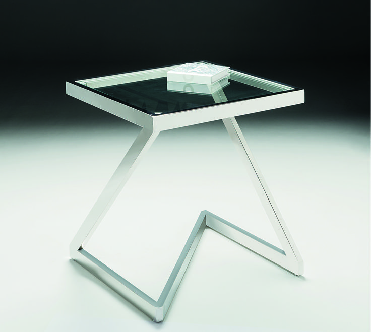 "Storm Lamp Table - stainless steel supports a clear glass top with a dramatic ""z"" profile"