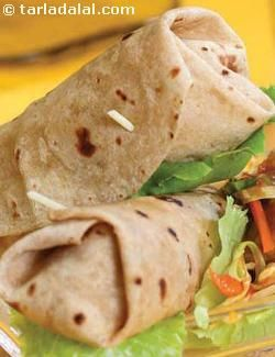Chilli Paneer and Baby Corn Wrap recipe