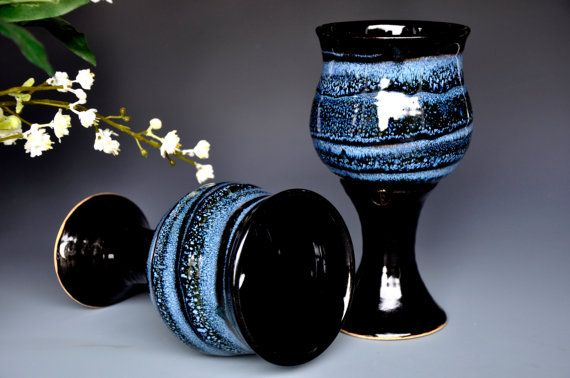 Hey, I found this really awesome Etsy listing at https://www.etsy.com/listing/162934862/blue-black-goblet-pottery-chalice