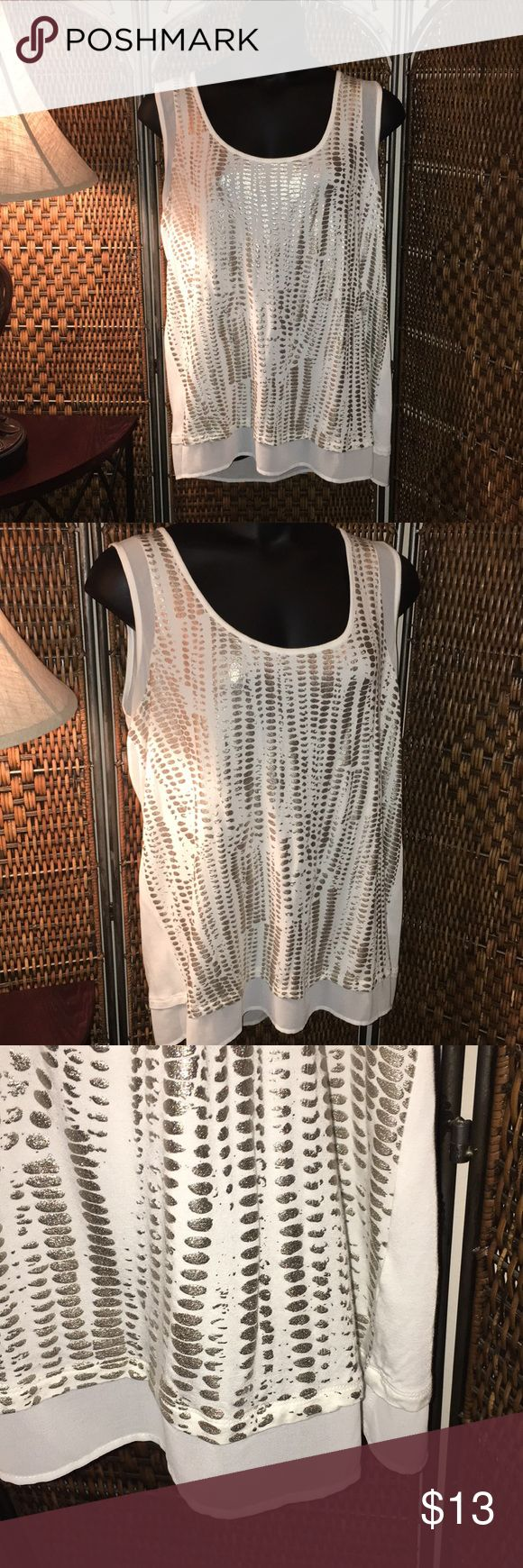 🅿️lus Size Cute tank Beautiful tank in excellent condition. Color is off white and goldish/silverish. Many compliments with this on. No stains or rips. a.n.a Tops