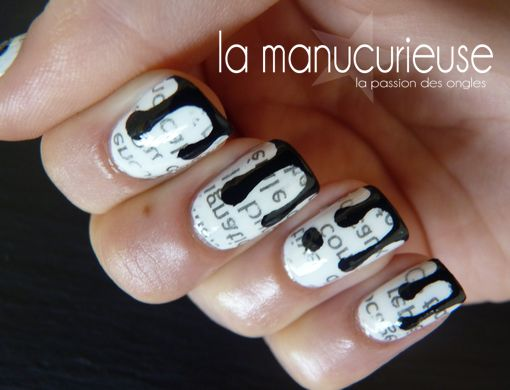 La Manucurieuse : Newspaper dripping nail art design