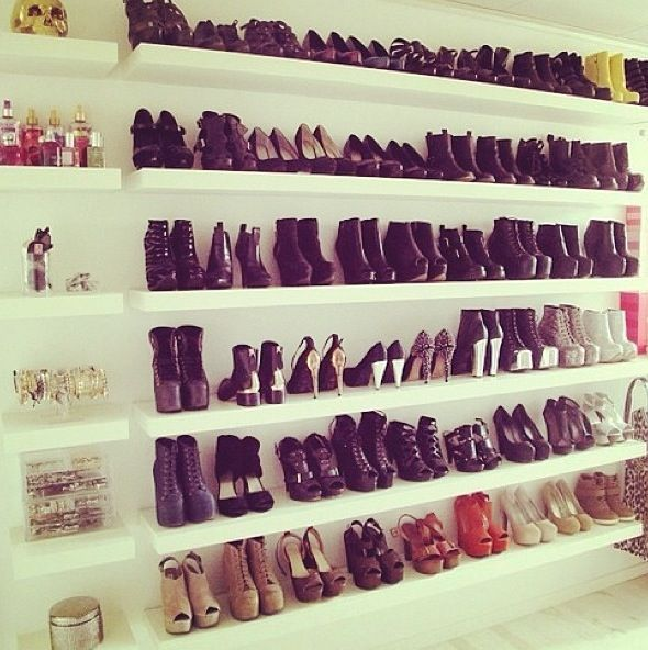 Closet: Blank Wall, Floating Shelves, Dreams Closet, Shoes Display, Ikea Shelves, Shoes Shelves, Shoes Storage, Shoes Racks, Shoes Closet