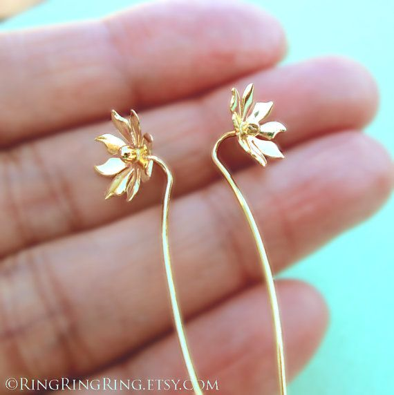100% solid 18K Gold earrings. These are my handmade unique solid gold earrings. Cute small 8 petal flower with long stem as earwire. Total length