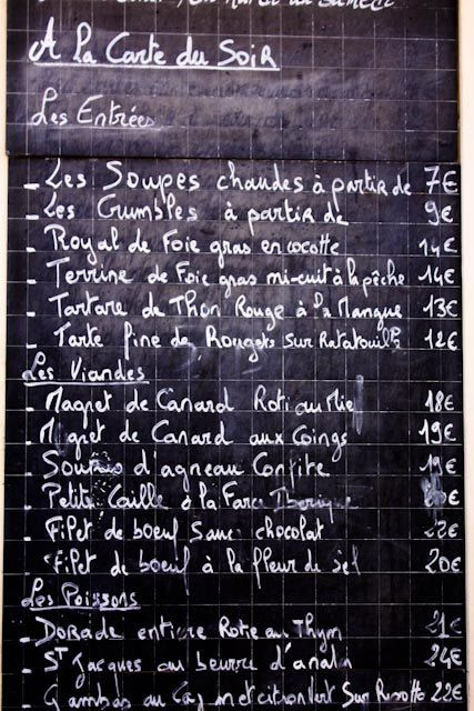Classic French menu on a chalkboard - 16x20 Fine Art Photograph - French decor. $90.00, via Etsy.