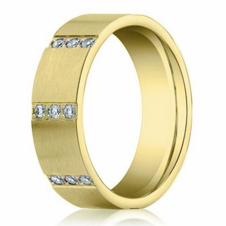 Las Alianzas De Boda Para Hombres: Oro Amarillo De 14k Con Diamantes | Gold Ring With Dimaonds