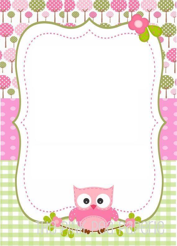 convite corujinha rosa e verde