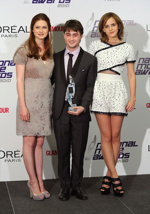 At the 2010 National Movie Awards in London with Bonnie Wright and Daniel Radcliffe. -Cosmopolitan.com