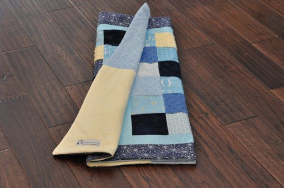 Modern baby boy quilt. Perfect for a modern blue, navy, yellow nursery.
