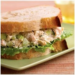 Panera Chicken Salad Sandwiches. Recipe with link. INGREDIENTS 1 rotisserie chicken, about 2 1/4 pounds  3/4 cup mayonnaise  3/4 cup finely chopped celery  2 tablespoons dill pickle relish  1 tablespoon chopped fresh tarragon  1/2 teaspoon salt  1/4 teaspoon ground black pepper  12 thin slices of Panera Bread Country loaf  6 leaves romaine lettuce, torn