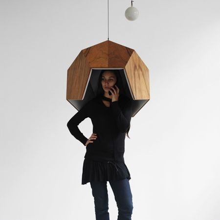 Robert Stadler's Pentaphone is a suspended booth for cellphone users that isolates the caller from ambient noise in a public space.