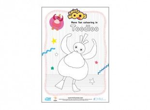 Your little one can colour in this picture of Toodloo. Is she red or is she blue?
