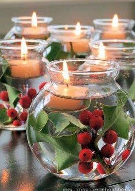 Inspiratie voor Kerst .. Mooi.. Losse takken van hulst , water en drijfkaars !
