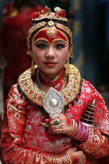 Kumari - In Nepal a Kumari is a pre-pubescent girl selected from the Shakya clan of the Nepalese Newari community. The Kumari is revered and worshiped by some of the country's Hindus as well as the Nepali Buddhists, though not the Tibetan Buddhists.