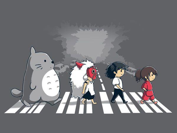 Studio Ghibli meets the Beatles in this cute tee design.