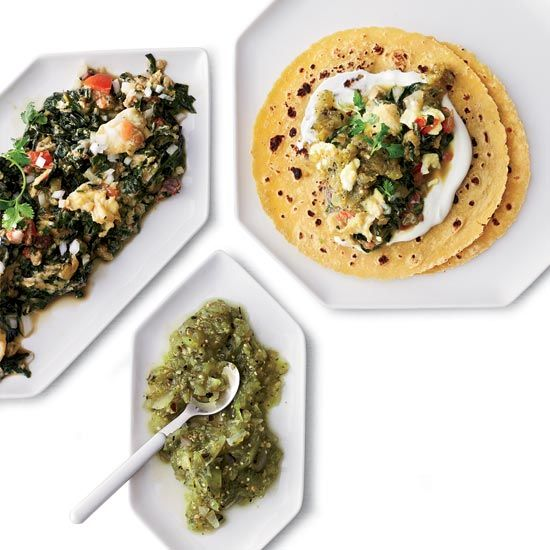Scrambled Egg and Swiss Chard Tacos // More Tasty Tacos: http://www.foodandwine.com/slideshows/tacos #foodandwine