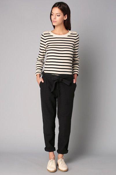 Pantalon noir ceinturé San Miguel Sessun sur MonShowroom.com