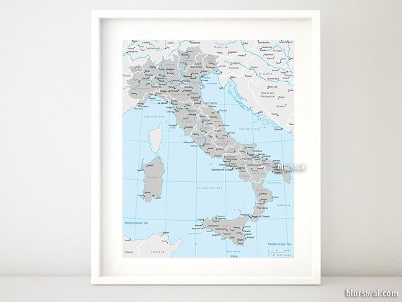 "16x20"" Printable map of Italy, Italy map with cities, Italia map, gray and blue Italy map, boy nursery map, dorm decor for him - map054 002 #smallbusiness #etsyseller #handmade"
