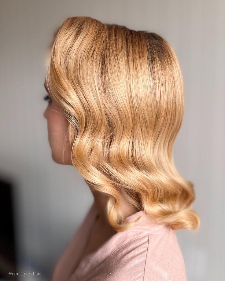 Golden Glam Waves On Short Hair Short Hair Bride Wedding Hairstyles Bridesmaid Bride Hairstyles Updo