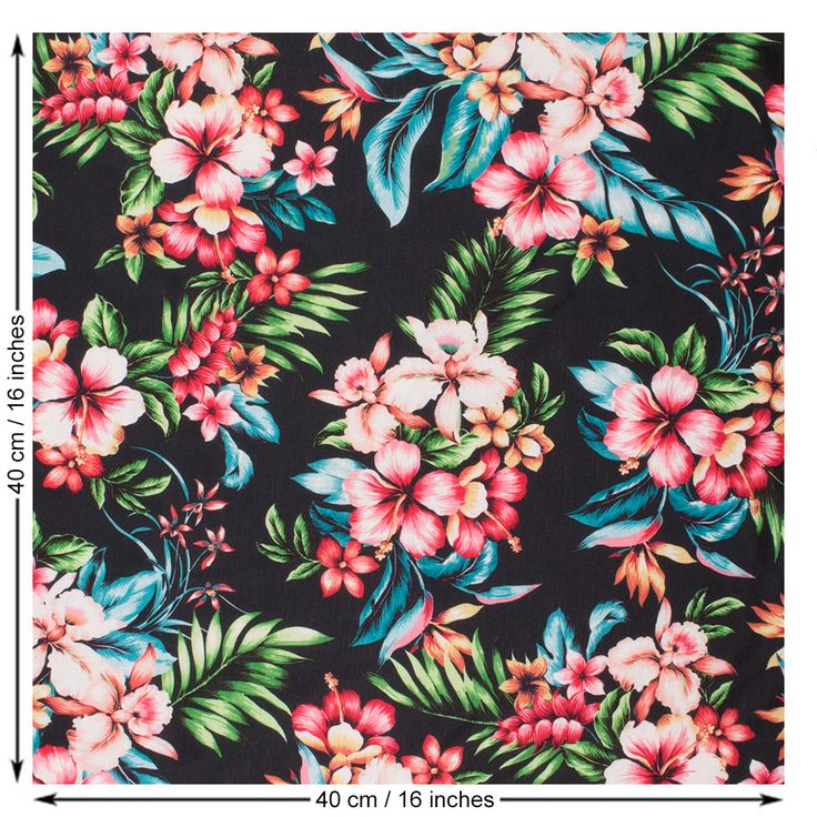 Digital Floral Print Jersey Fabric in Black and Multicolour
