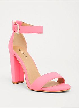 07cac9ae0d9b8f Neon Pink Scuba Knit High Heel Sandal (Wide Width)