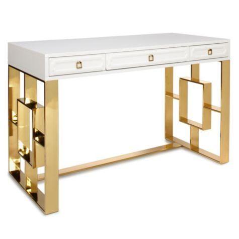 sydney white and gold desk