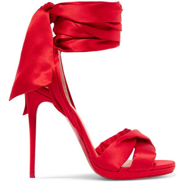 Christian Louboutin Tres Frais 120 satin sandals ($1,035) ❤ liked on Polyvore featuring shoes, sandals, platform shoes, red strap sandals, wide sandals, red high heel shoes and strap sandals