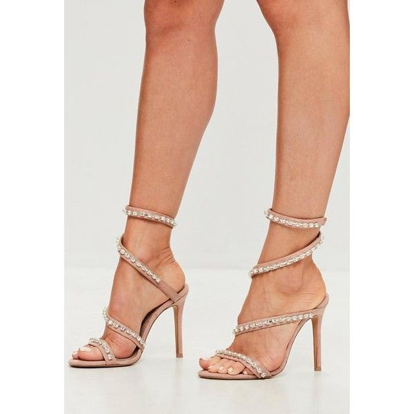 Missguided Carli Bybel x Missguided Nude Jewel Wrap Around Heeled... (3,075 DOP) ❤ liked on Polyvore featuring shoes, sandals, pink, nude high heel sandals, jeweled sandals, silver high heel shoes, silver shoes and pink high heel sandals